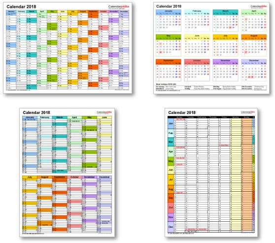 Calendar templates 2018 for Excel, PDF & Word