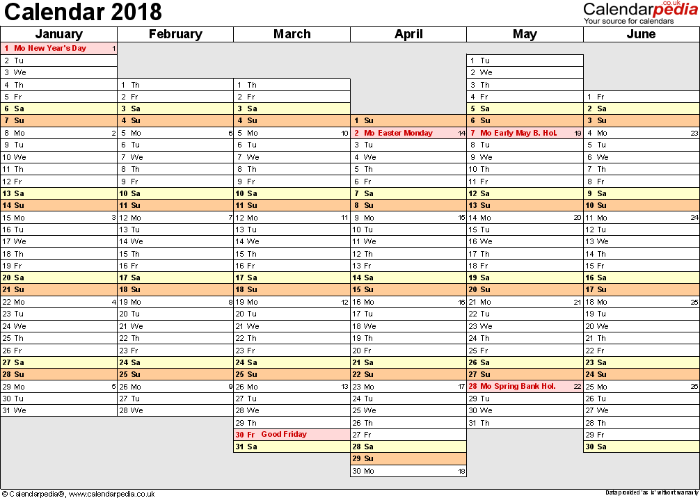 Template 4: Yearly calendar 2018 as PDF template, landscape orientation, A4, 2 pages, months horizontally, days vertically, days of the week in line, with UK bank holidays and week numbers