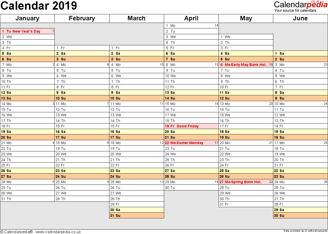 Template 4: Yearly calendar 2019 as PDF template, landscape orientation, A4, 2 pages, months horizontally, days vertically, days of the week in line, with UK bank holidays and week numbers