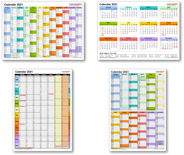 Calendar templates 2021 for Excel, PDF & Word