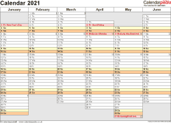 Download Template 4: Yearly calendar 2021 for PDF, landscape orientation, A4, 2 pages, months horizontally, days vertically, days of the week in line, with UK bank holidays and week numbers