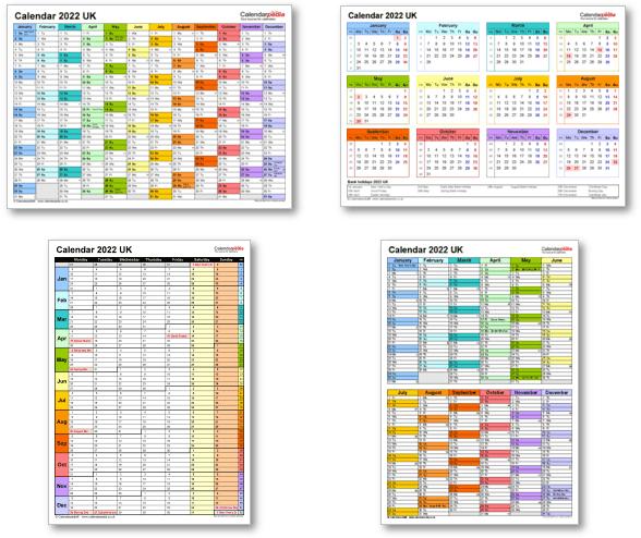 Calendar templates 2022 for Excel, PDF & Word