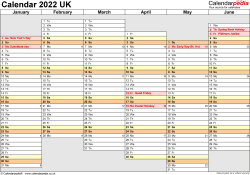Template 4: Yearly calendar 2022 as Word template, landscape orientation, A4, 2 pages, months horizontally, days vertically, days of the week in line, with UK bank holidays and week numbers
