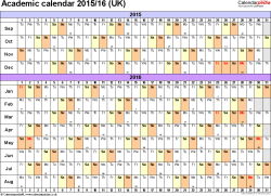 Download Template 3: Academic year calendars 2015/16 for PDF, landscape orientation, A4, 1 page, months horizontally, days vertically, with UK bank holidays and week numbers