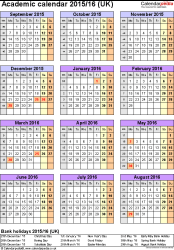 Template 5: Academic year calendars 2015/16 as Excel template, portrait orientation, one A4 page