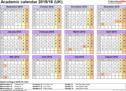 Template 4: Academic year calendars 2015/16 as Word template, year overview, 1 page