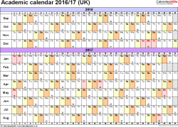 Download Template 3: Academic year calendars 2016/17 for PDF, landscape orientation, A4, 1 page, months horizontally, days vertically, with UK bank holidays and week numbers
