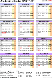 Template 5: Academic year calendars 2016/17 as Excel template, portrait orientation, one A4 page