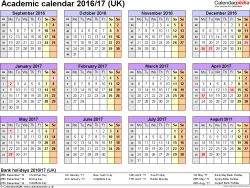 Download Template 4: Academic year calendars 2016/17 for Microsoft Excel, year at a glance, 1 page