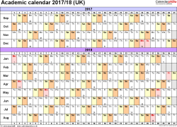 Template 2: Academic year calendars 2017/18 as PDF template, landscape orientation, A4, 1 page, months horizontally, days vertically, with UK bank holidays and week numbers