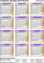 Template 5: Academic year calendars 2017/18 as PDF template, portrait orientation, one A4 page