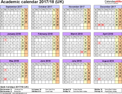Template 4: Academic year calendars 2017/18 as Word template, year overview, 1 page