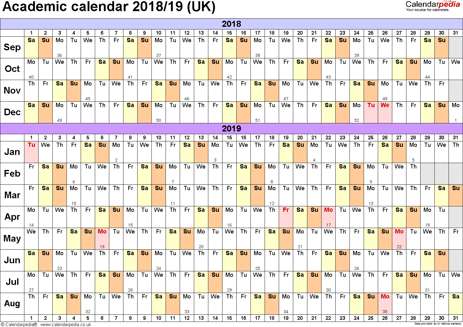 Template 2: Academic year calendars 2018/19 as PDF template, landscape orientation, A4, 1 page, months horizontally, days vertically, with UK bank holidays and week numbers