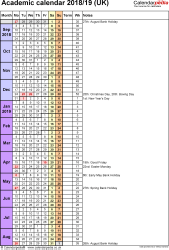 Template 7: Academic year calendars 2018/19 as Excel template, portrait orientation, 1 page, with UK bank holidays, days in continuous (rolling) layout
