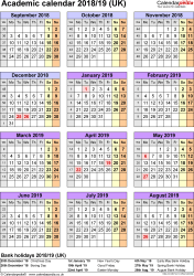 Template 5: Academic year calendars 2018/19 as Excel template, portrait orientation, one A4 page
