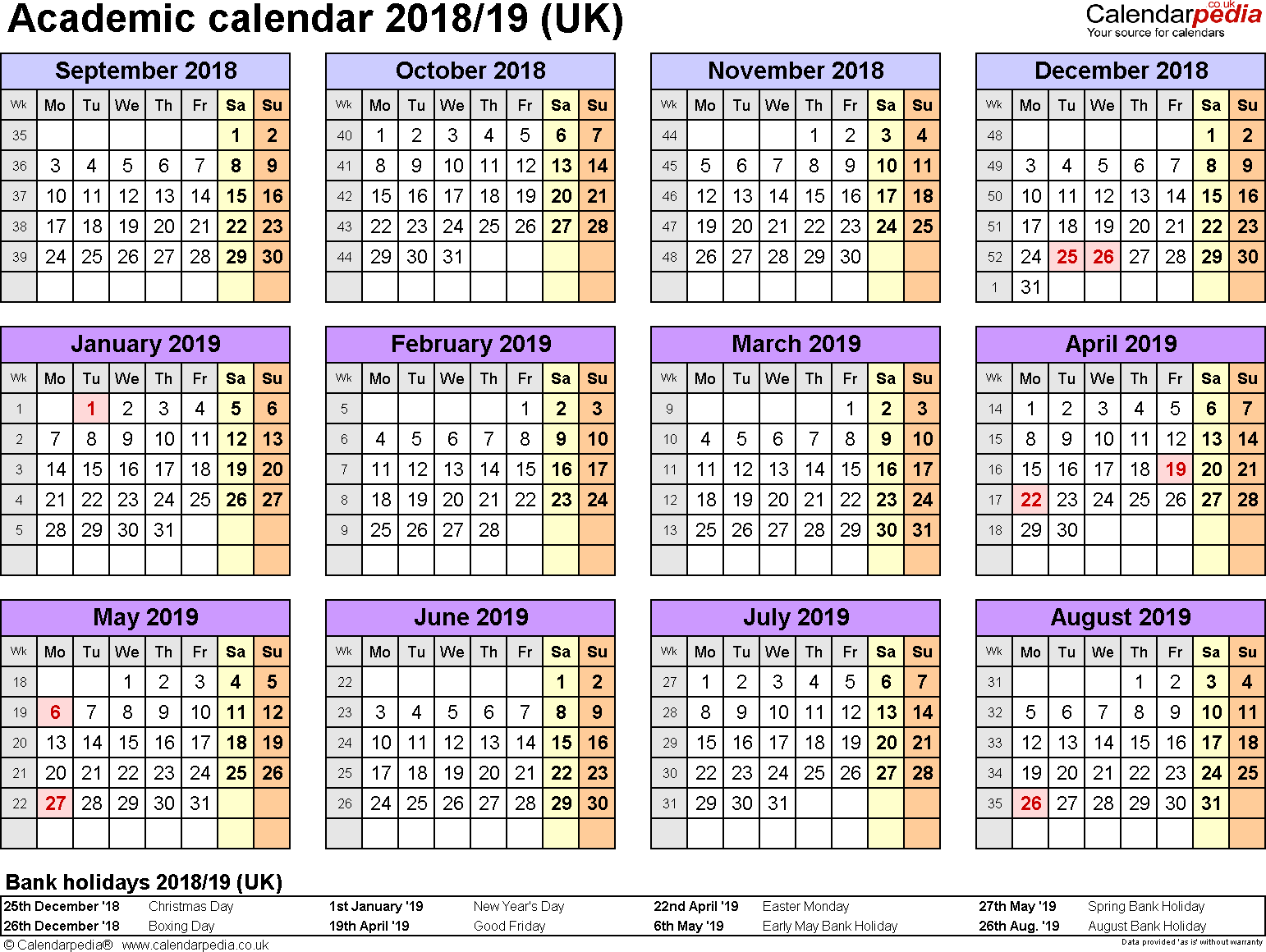 Template 4: Academic year calendars 2018/19 as PDF template, year overview, 1 page