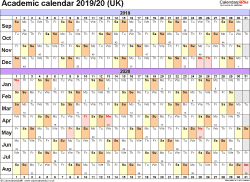 Template 2: Academic year calendars 2019/20 as Word template, landscape orientation, A4, 1 page, months horizontally, days vertically, with UK bank holidays and week numbers