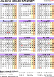 Template 5: Academic year calendars 2019/20 as Word template, portrait orientation, one A4 page