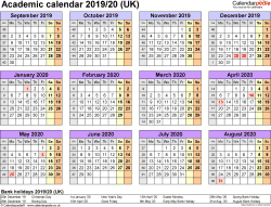 Template 4: Academic year calendars 2019/20 as Word template, year overview, 1 page