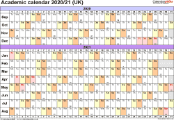 Template 3: Academic year calendars 2020/21 as PDF template, landscape orientation, A4, 1 page, months horizontally, days vertically, with UK bank holidays and week numbers