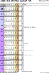 Template 7: Academic year calendars 2020/21 as PDF template, portrait orientation, 1 page, with UK bank holidays, days in continuous (rolling) layout