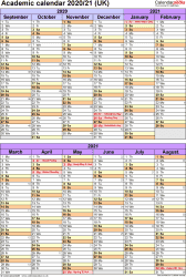 Download Template 5: Academic year calendars 2020/21 for PDF, portrait orientation, 1 page, divided into two 6-month blocks, with UK bank holidays