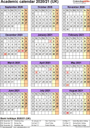 Template 6: Academic year calendars 2020/21 as PDF template, portrait orientation, one A4 page