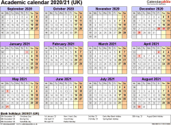 Template 4: Academic year calendars 2020/21 as PDF template, year overview, 1 page