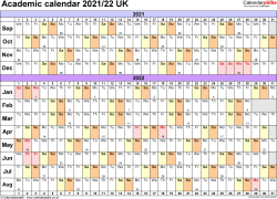 Template 2: Academic year calendars 2021/22 as PDF template, landscape orientation, A4, 1 page, months horizontally, days vertically, with UK bank holidays and week numbers