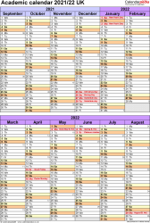 Download Template 5: Academic year calendars 2021/22 for Microsoft Excel, portrait orientation, 1 page, divided into two 6-month blocks, with UK bank holidays