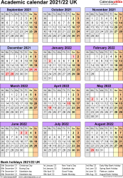 Template 5: Academic year calendars 2021/22 as PDF template, portrait orientation, one A4 page