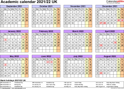 Template 4: Academic year calendars 2021/22 as PDF template, year overview, 1 page