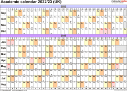 Download Template 3: Academic year calendars 2022/23 for Microsoft Word, landscape orientation, A4, 1 page, months horizontally, days vertically, with UK bank holidays and week numbers