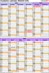 Download Template 5: Academic year calendars 2022/23 for Microsoft Word, portrait orientation, 1 page, divided into two 6-month blocks, with UK bank holidays