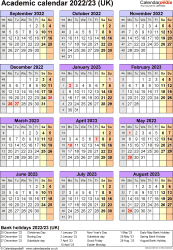 Download Template 7: Academic year calendars 2022/23 for Microsoft Word, portrait orientation, one A4 page