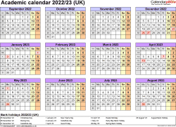 Download Template 4: Academic year calendars 2022/23 for Microsoft Word, year at a glance, 1 page