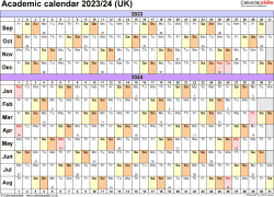Download Template 3: Academic year calendars 2023/24 for PDF, landscape orientation, A4, 1 page, months horizontally, days vertically, with UK bank holidays and week numbers