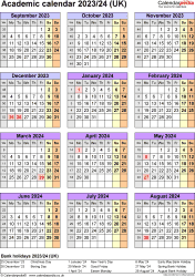 Download Template 7: Academic year calendars 2023/24 for Microsoft Excel, portrait orientation, one A4 page