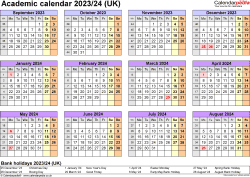 Download Template 4: Academic year calendars 2023/24 for Microsoft Excel, year overview, 1 page