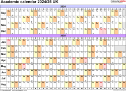 Download Template 3: Academic year calendars 2024/25 for PDF, landscape orientation, A4, 1 page, months horizontally, days vertically, with UK bank holidays and week numbers