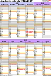 Download Template 5: Academic year calendars 2024/25 for PDF, portrait orientation, 1 page, divided into two 6-month blocks, with UK bank holidays