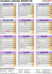 Download Template 7: Academic year calendars 2024/25 for PDF, portrait orientation, one A4 page