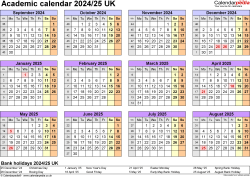 Download Template 4: Academic year calendars 2024/25 for PDF, year at a glance, 1 page