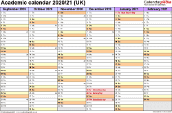 Template 2: Academic year calendars 2020/21 as PDF template, landscape orientation, 2 pages, months horizontally, days vertically, with UK bank holidays and week numbers