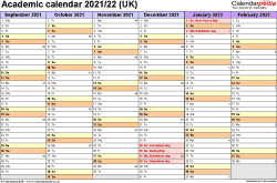 Download Template 2: Academic year calendars 2021/22 for PDF, landscape orientation, 2 pages, months horizontally, days vertically, with UK bank holidays and week numbers