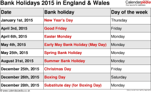 Bank Holidays 2015 England & Wales