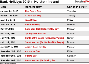 Bank Holidays 2015 Northern Ireland