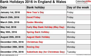 Bank Holidays 2016 England & Wales