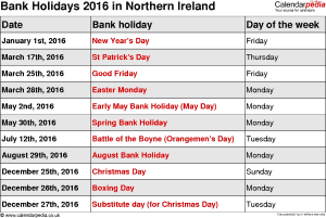 Bank Holidays 2016 Northern Ireland