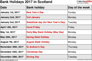 Bank Holidays 2017 in the UK on